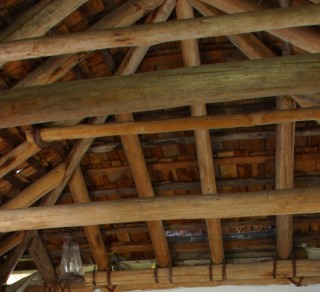 The wooden ceiling in the kitchen