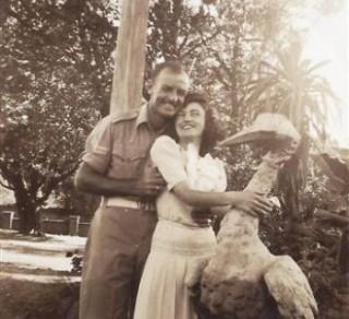 Unknown couple in Labassa's garden c1943