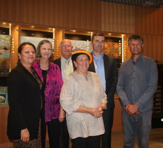 (L-R) Robyn Smith Walley, Pat Forster, the Hon Michael Murray AM QC, National Trust Chair, John Carey MLA, Dr Richard Walley OAM and (front) Marie Taylor, Elder.