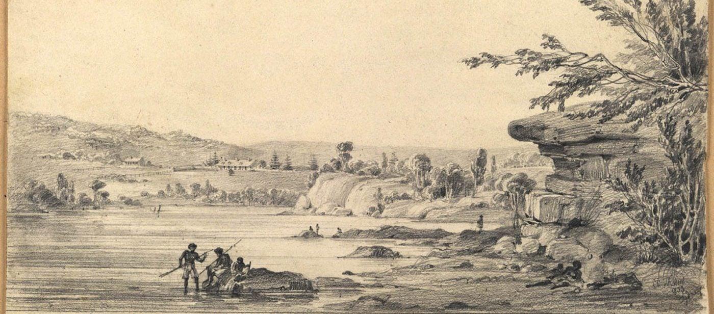 Aboriginal people fishing in Woolloomooloo Bay near Paddington. Charles Rodius, 1833. (State Library of NSW, PXA 997)