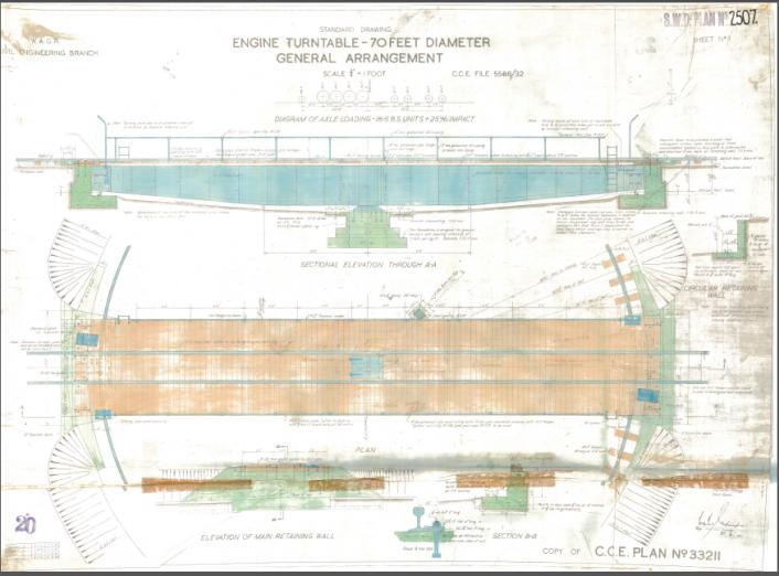 Plan No 2507 - Sheet No 1 - Engine Turntable - 70 Feet Diameter- General Arrangement - Westnet Rail