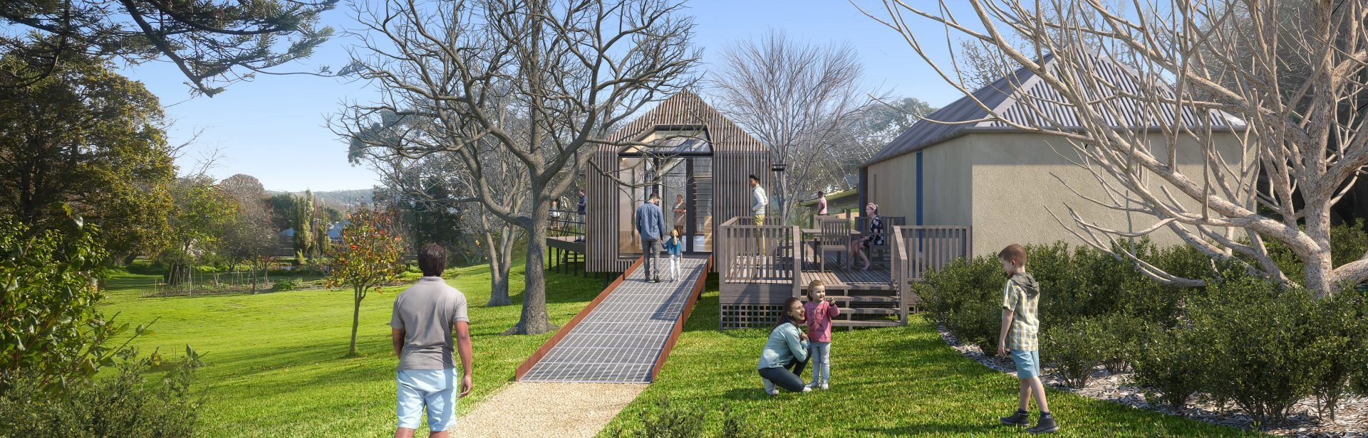 Artistic representation of entrance to planned visitor hub Strawberry Hill