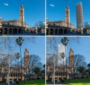 Before and after photos showing the impact on the Central Clock Tower